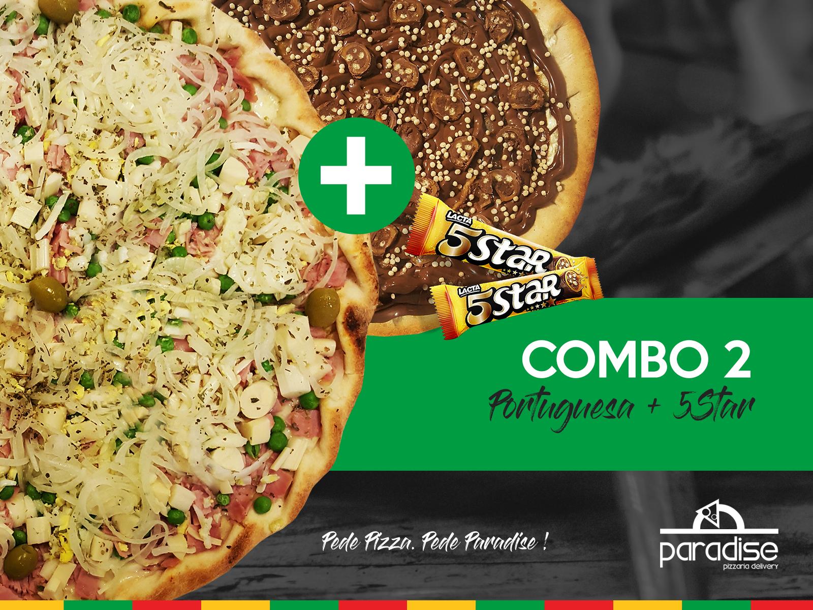 Promoção de Pizza - Combo 2 - Pizza de Portuguesa Grande + Pizza Broto de Chocolate 5Star
