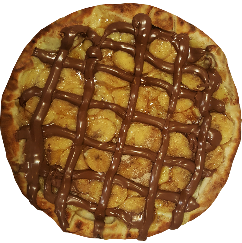 Pizza de Banana com canela e chocolate